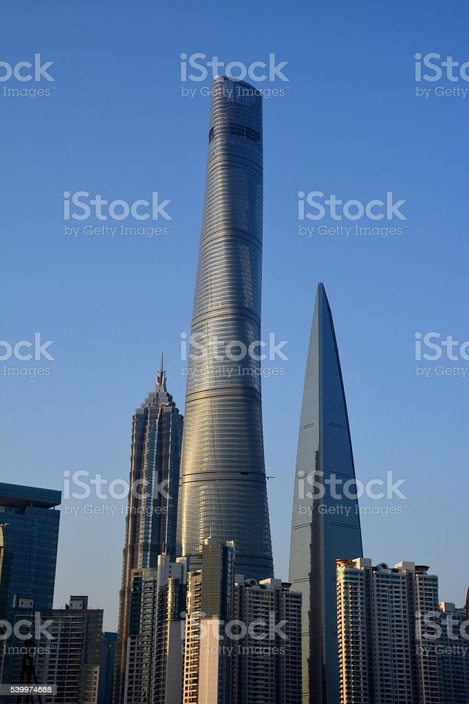Megatall skyscrapers in Lujiazui, Shanghai, China stock photo
