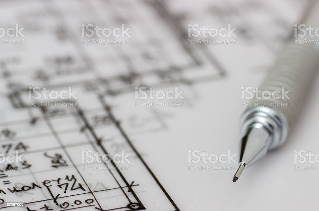 Mehanical pencil on technical drawing vector art illustration