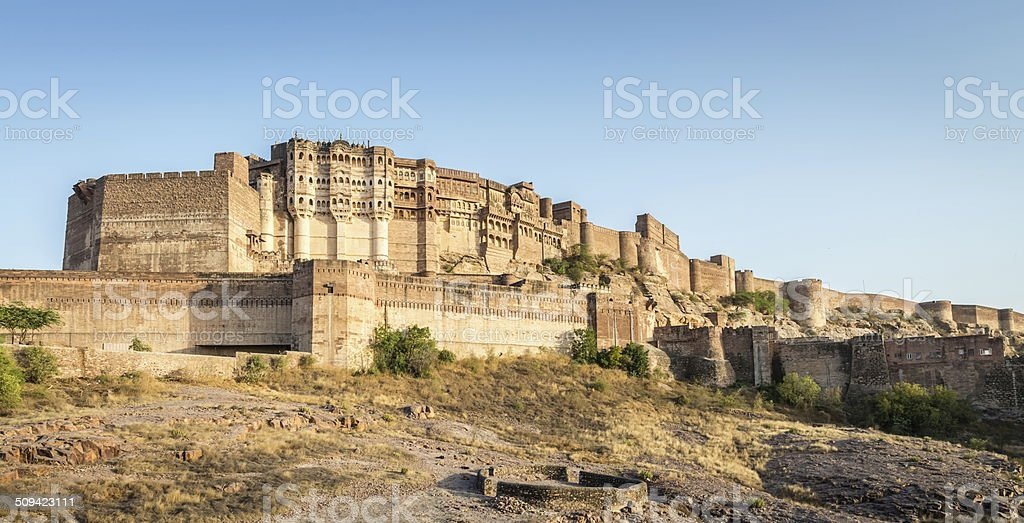 Meherangarh Fort Jodhpur Panorama, India stock photo