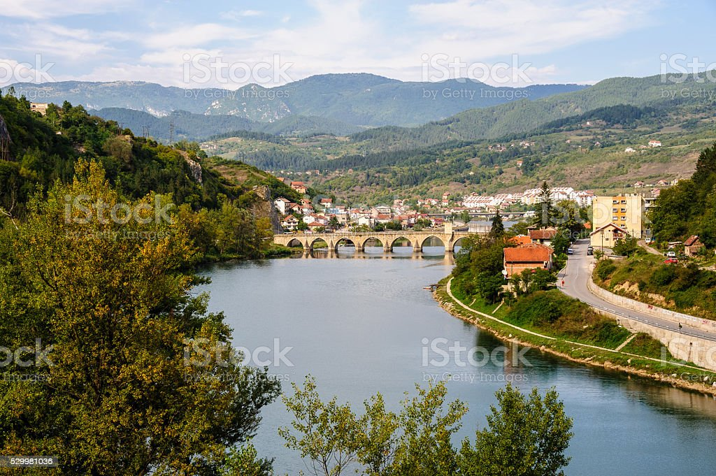 Mehmed Pasa Sokolovic Bridge in Visegrad, Bosnia stock photo