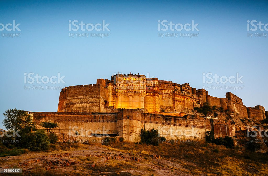 Mehrangarh Fort at dusk, Jodhpur, India stock photo