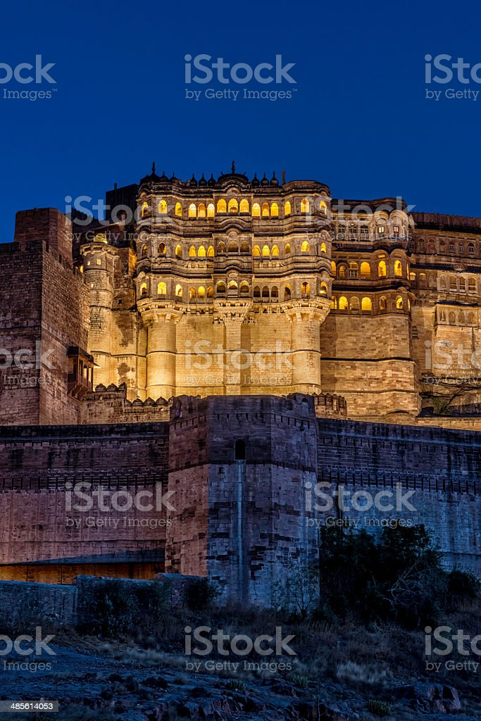 Mehrangarh Fort in Jodhpur by night, Rajasthan stock photo