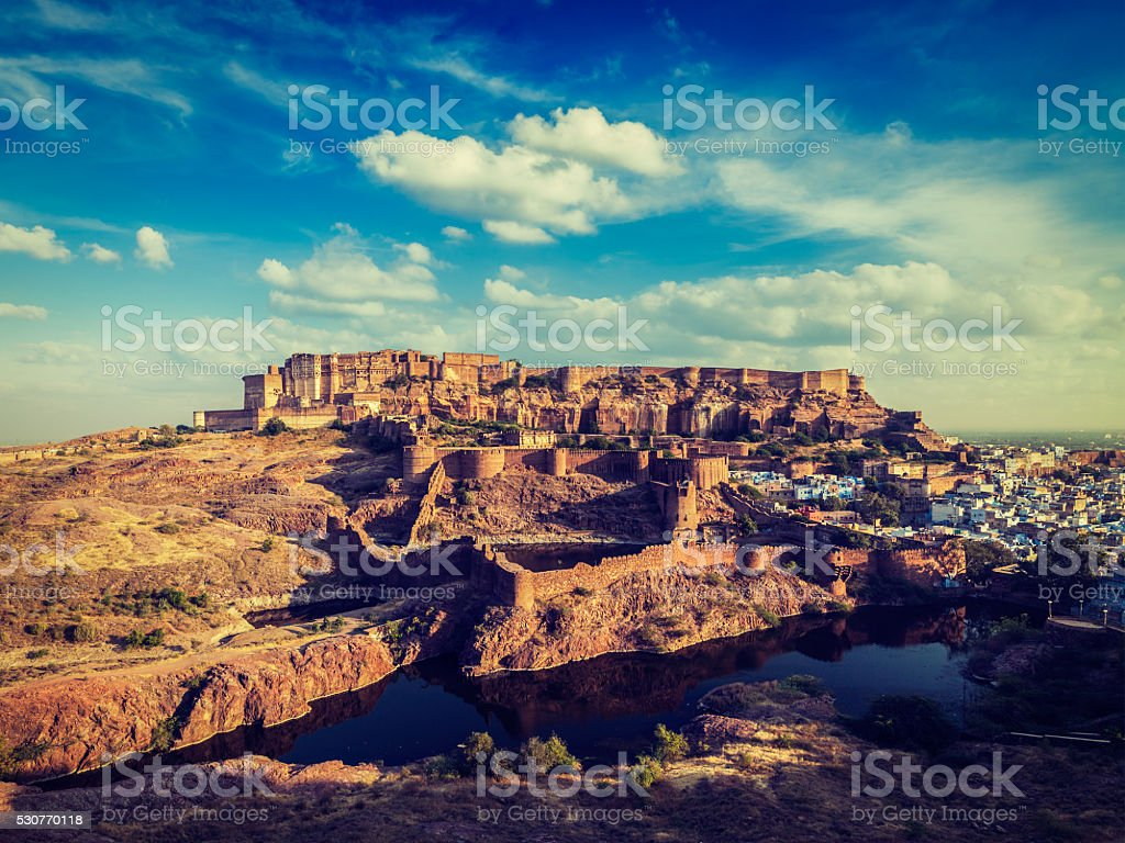 Mehrangarh Fort, Jodhpur, Rajasthan, India stock photo