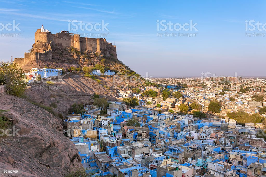 Mehrangarh fort on the hill in Jodhpur, Rajasthan, India stock photo