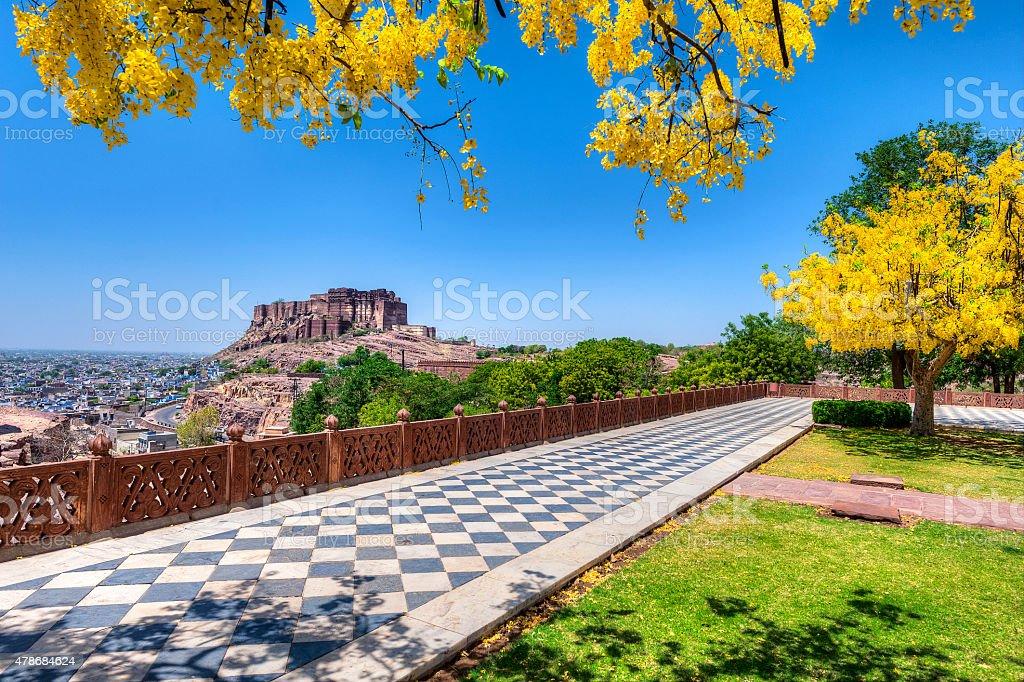 Mehrangarh Fort view from Jaswant Thada Jodhpur Rajasthan, India stock photo