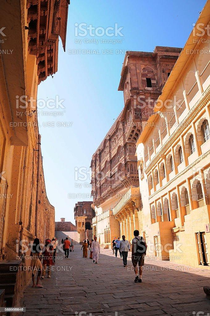 Mehrangharh Fort, blue city Jodhpur, Rajasthan, India stock photo