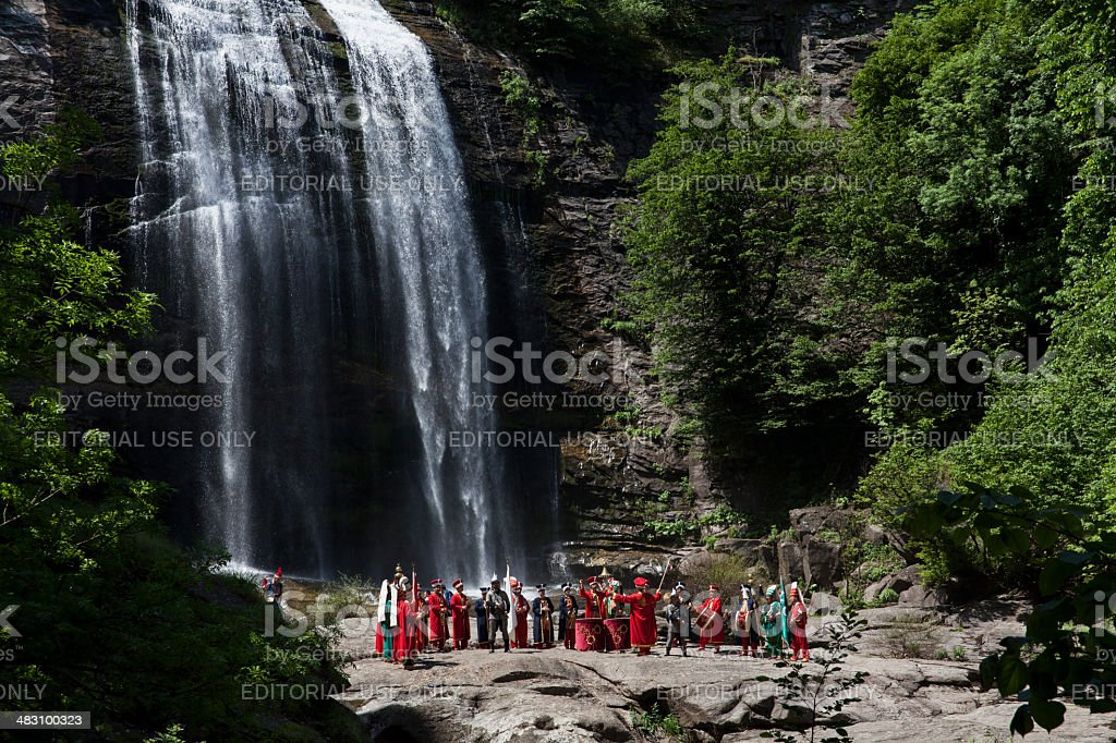 Mehteran- Ottoman Military Band and Suuctu Waterfall stock photo