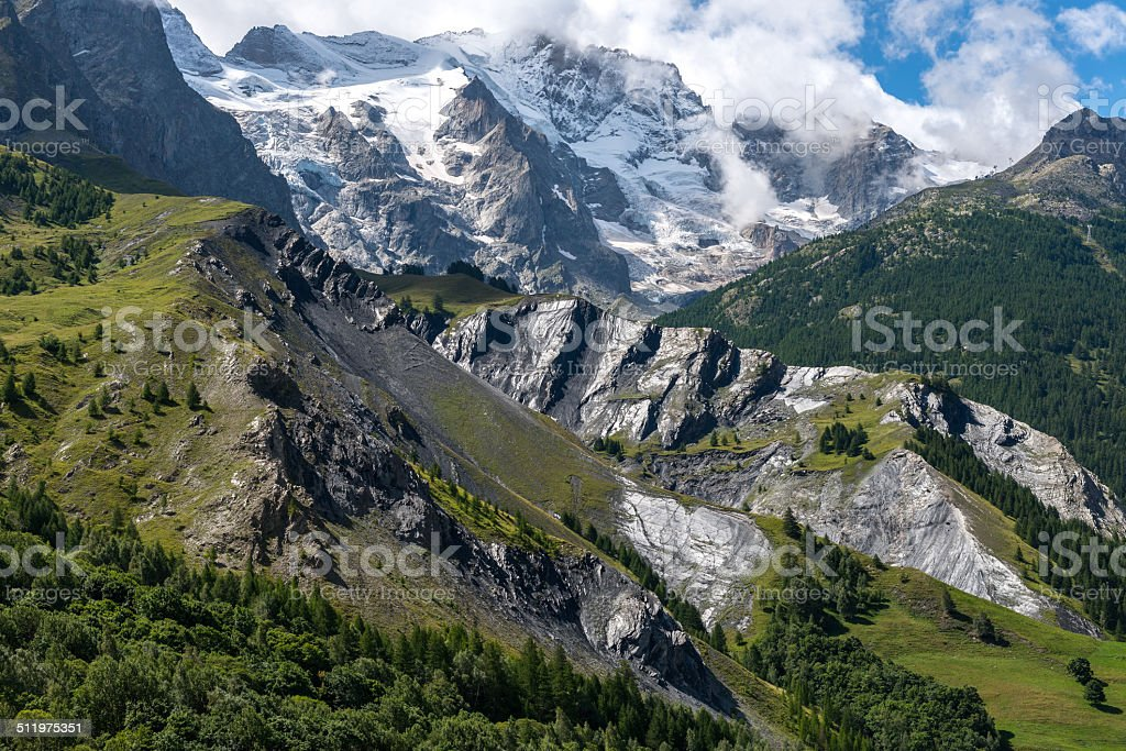 Meije glacier near la Grave (France) stock photo