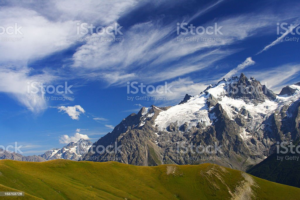 Meije peak in oisans, france stock photo