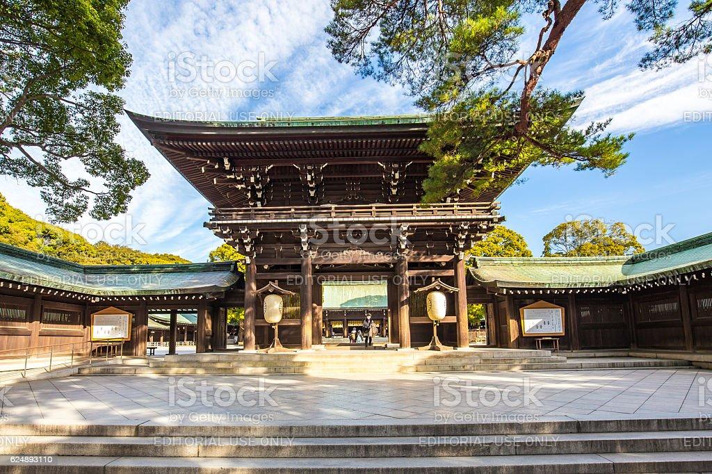 Meiji Jingu Shrine in Shibuya, Tokyo- Japan stock photo