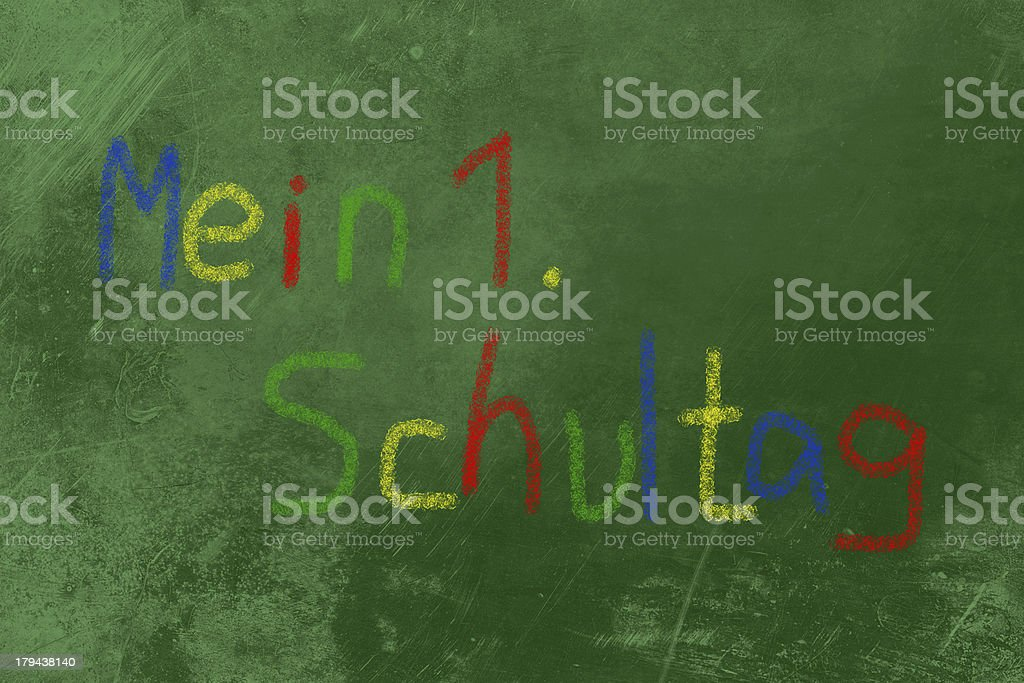 Mein 1. Schultag colored chalk on blackboard royalty-free stock photo
