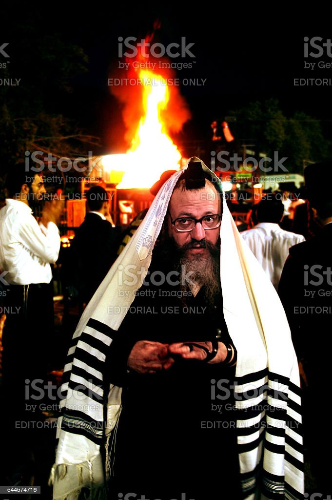 Meiron Israel Jewish Holiday Lag Bomer stock photo