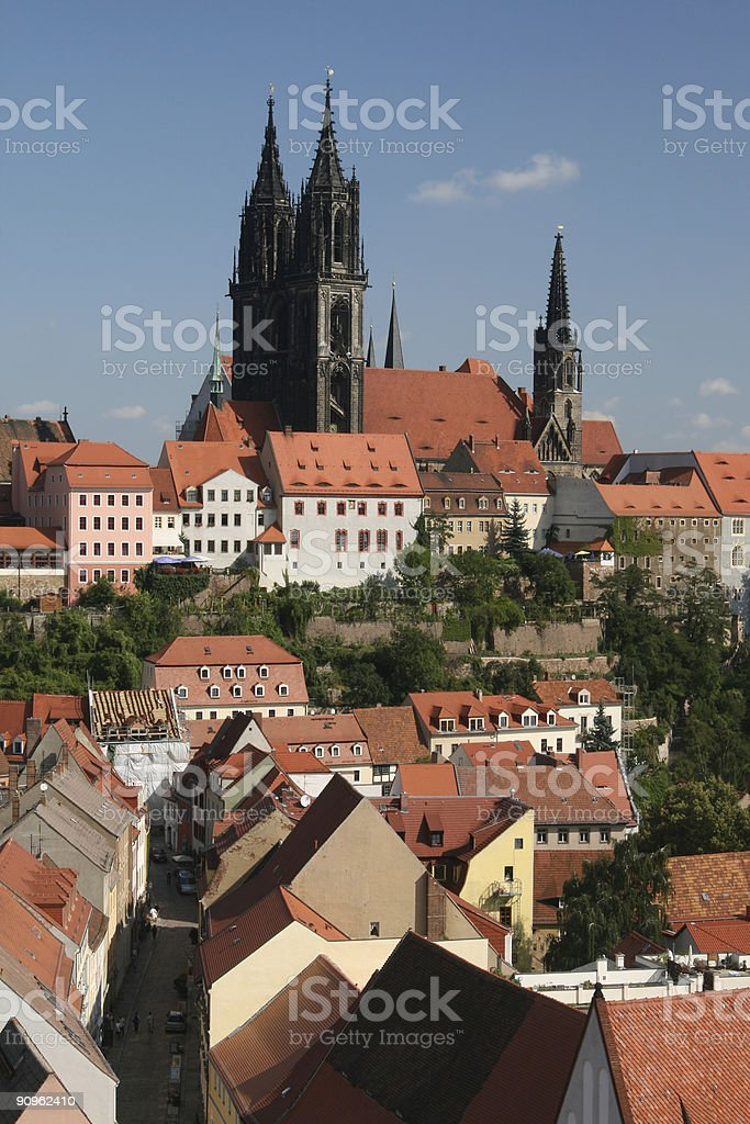 Meissen View of Frauenkirche stock photo