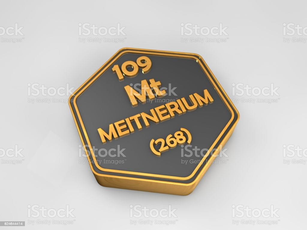 meitnerium - Mt - chemical element periodic table hexagonal shape 3d render stock photo