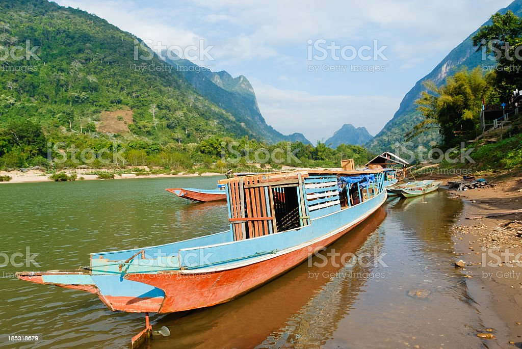 Mekong boat pulled up at shore stock photo
