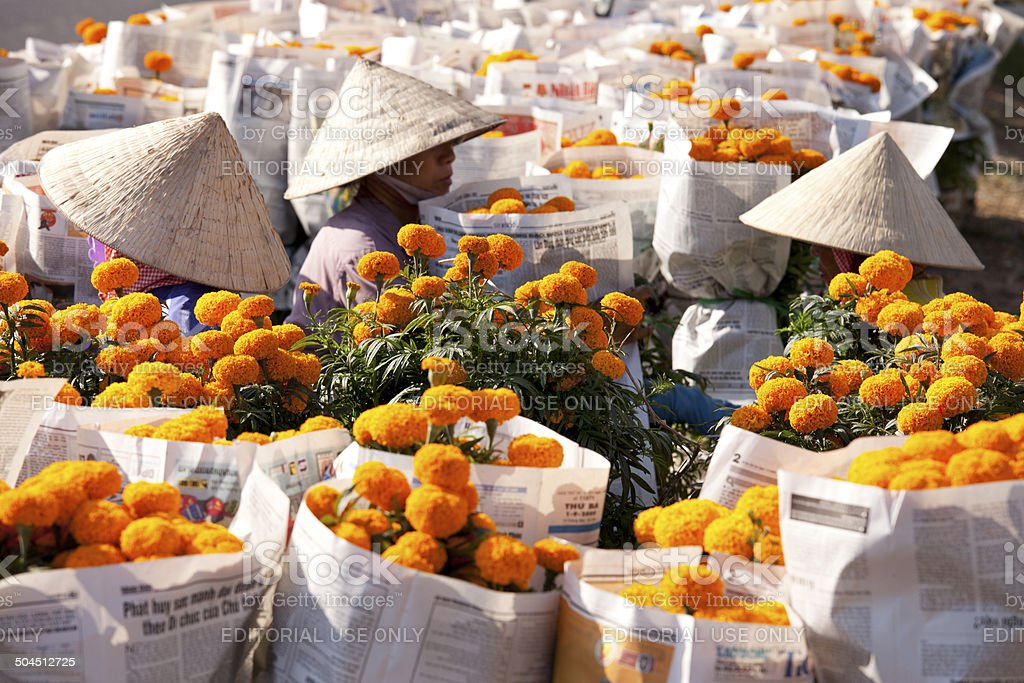 Mekong Delta Flower Market stock photo
