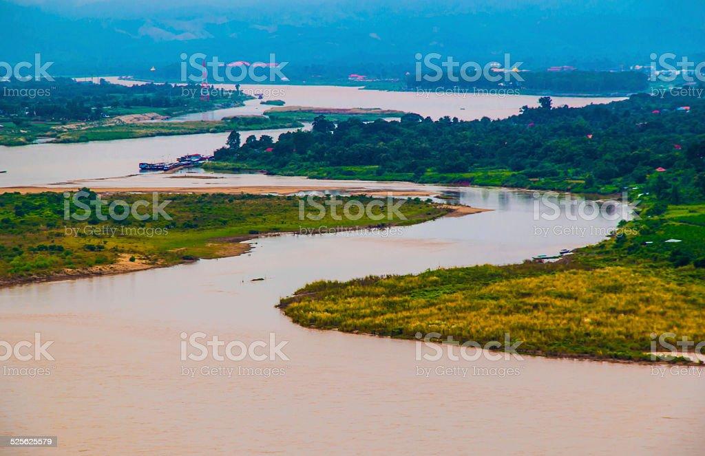 Mekong river landscape stock photo