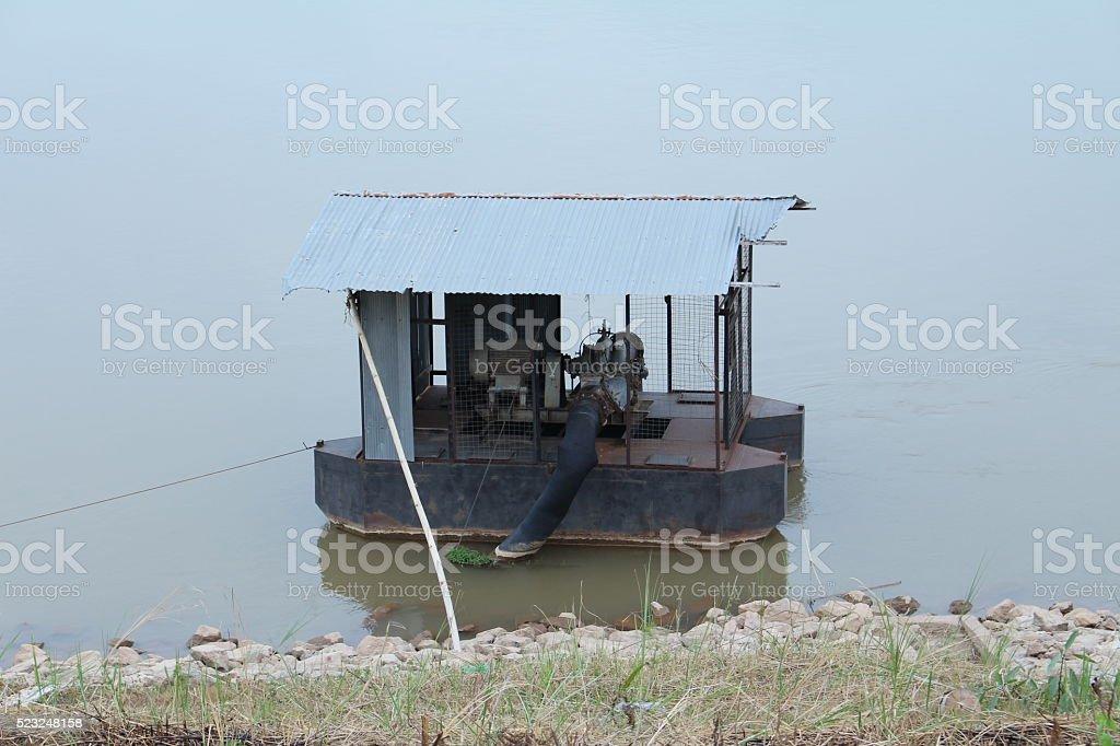 Mekong River pump water stock photo