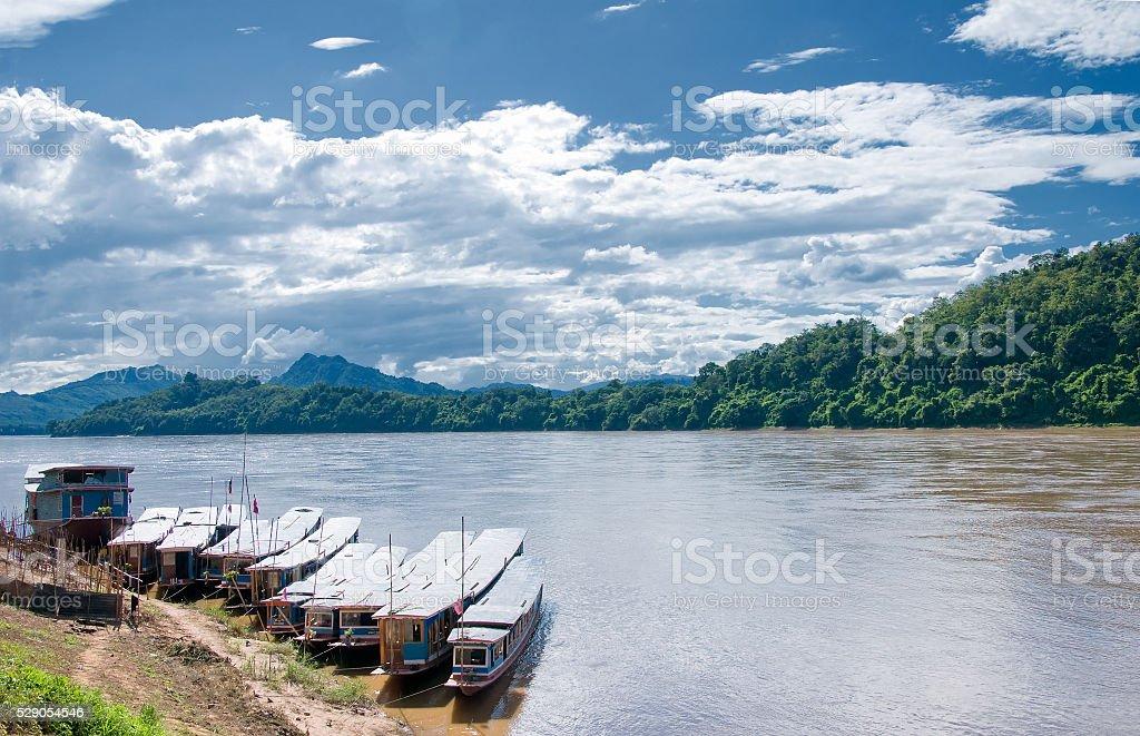 Mekong river,port, Luang Prabang, Laos stock photo