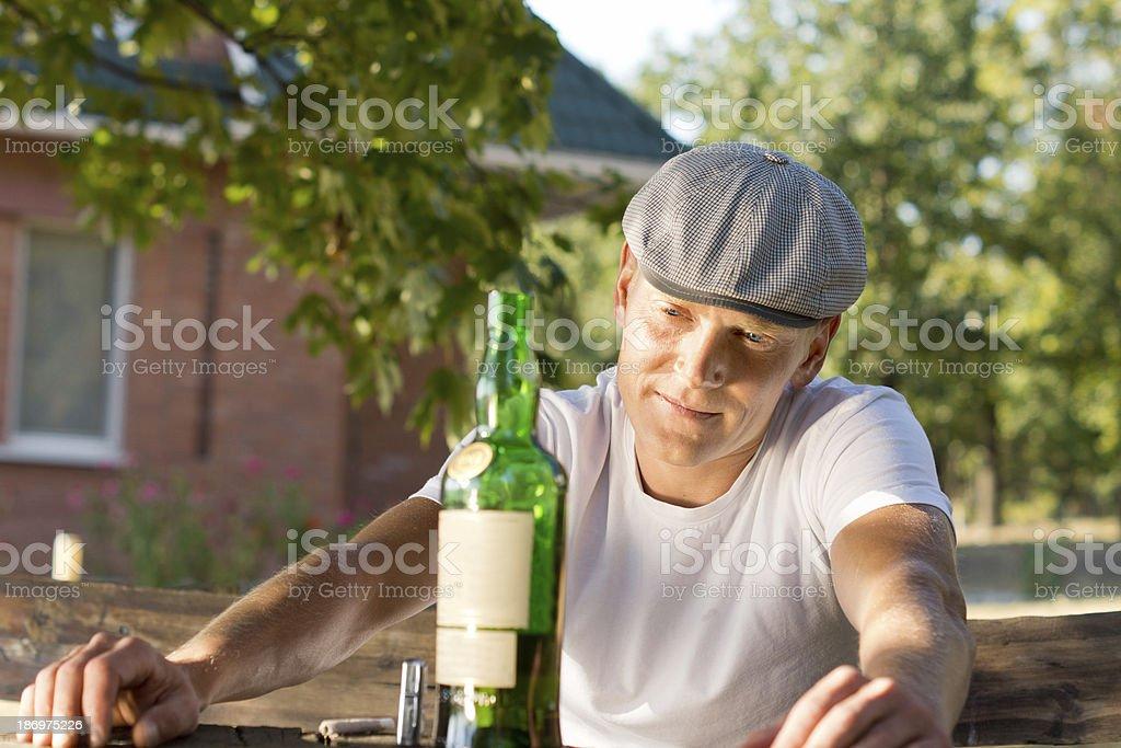 Melancholic addicted man recalling memories royalty-free stock photo