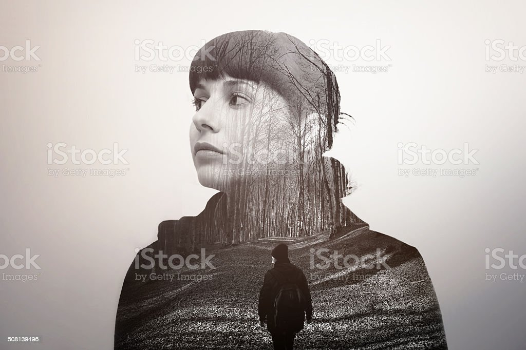 Melancholic girl looking into the future stock photo