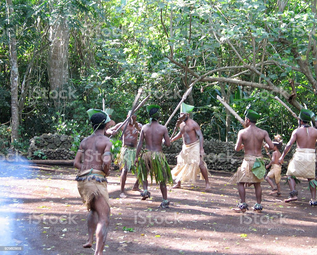 Melanesian in native traditional dancing royalty-free stock photo