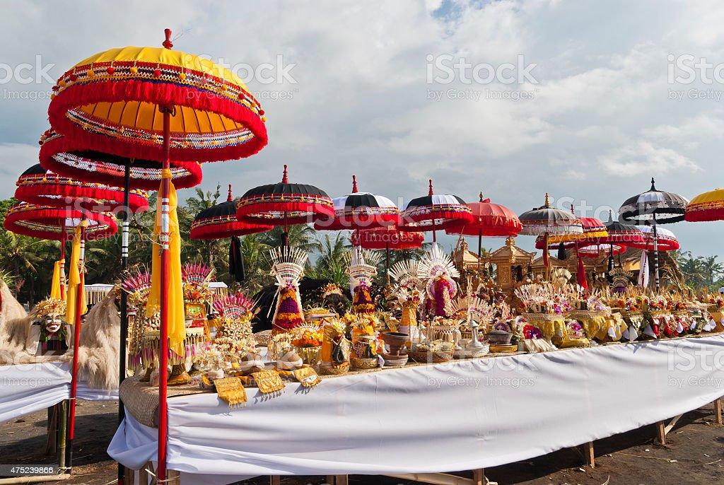 Melasti Ceremony Bali, Colorful Offerings and Umbrellas, Indonesia stock photo