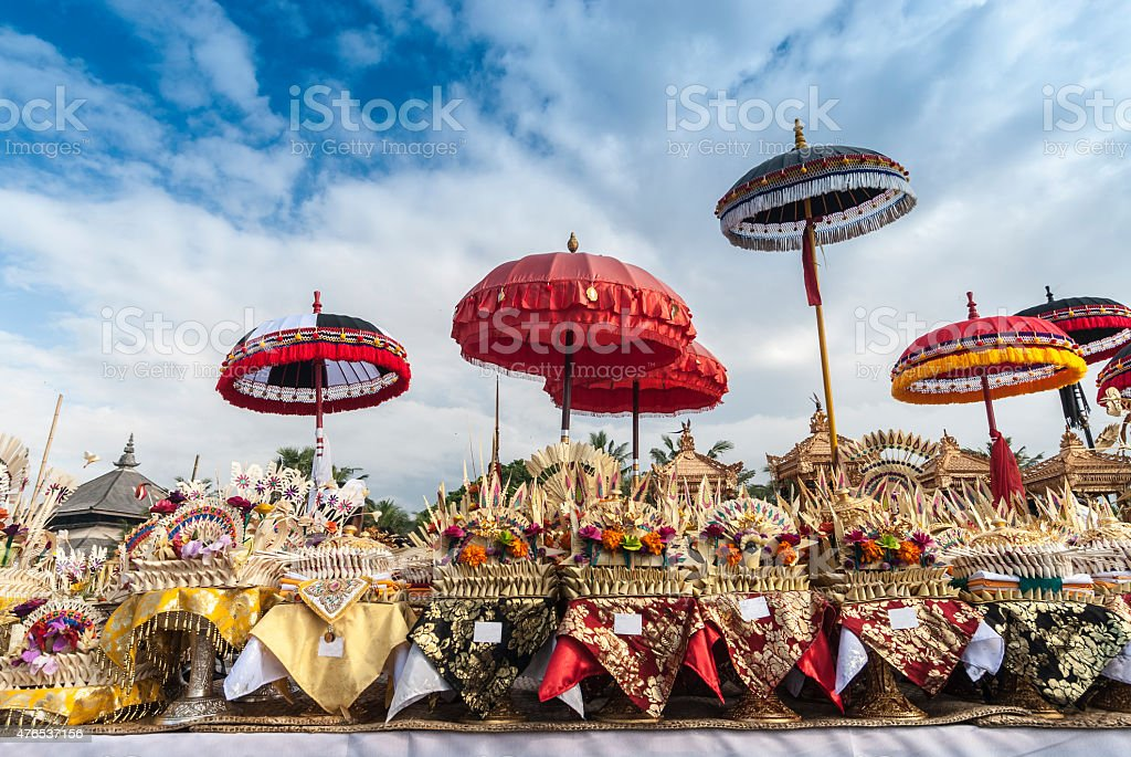 Melasti Ceremony Bali, Colorful Offerings and Umbrellas, Indonesia stock photo