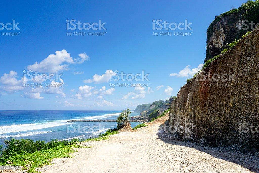 Melasti hidden beach in bali, indonesia. stock photo