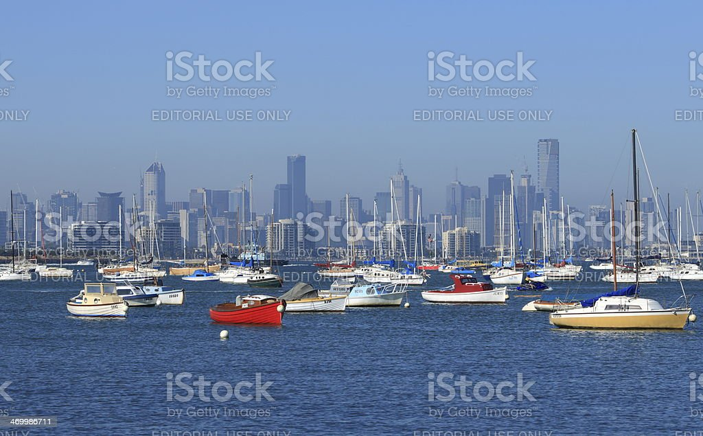 Melbourne and habour stock photo