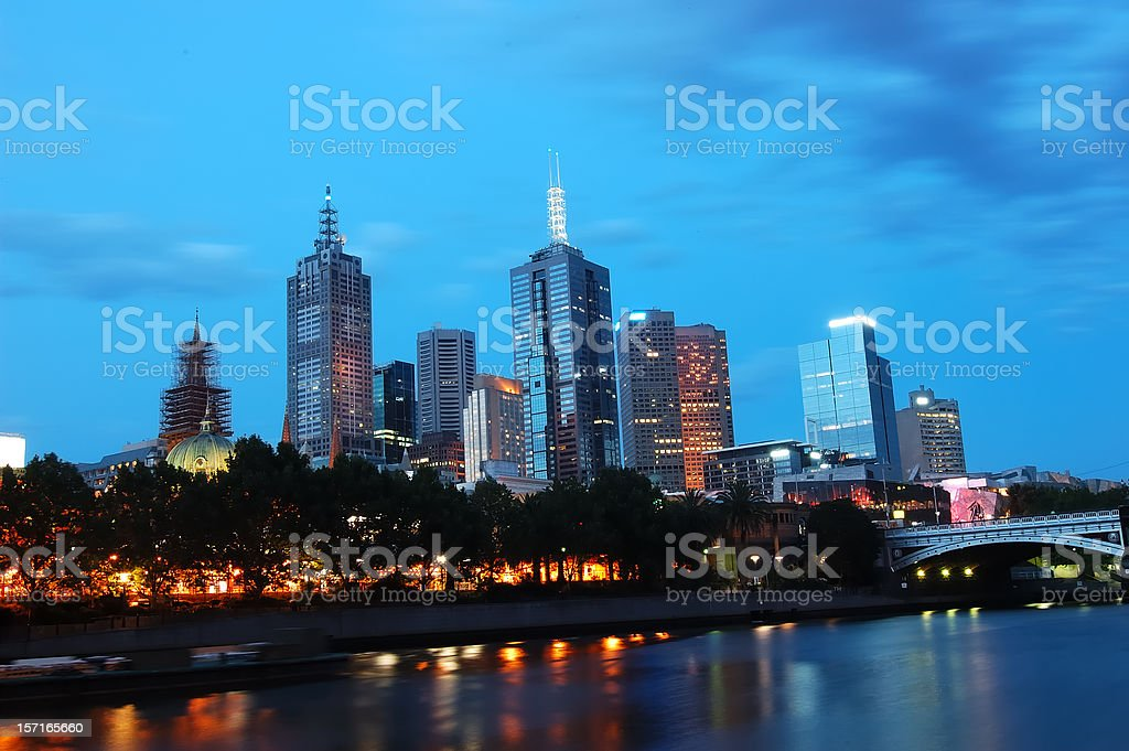 Melbourne at dusk royalty-free stock photo