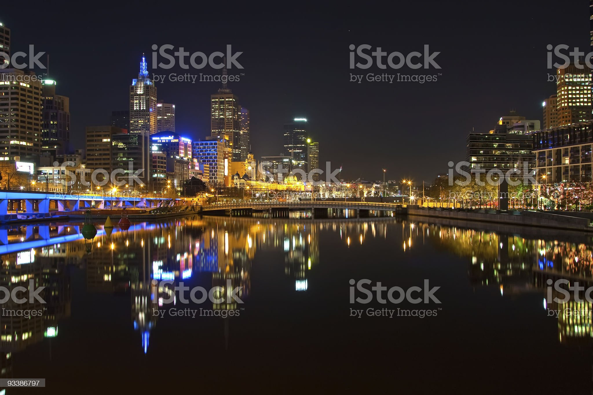 Melbourne at night royalty-free stock photo