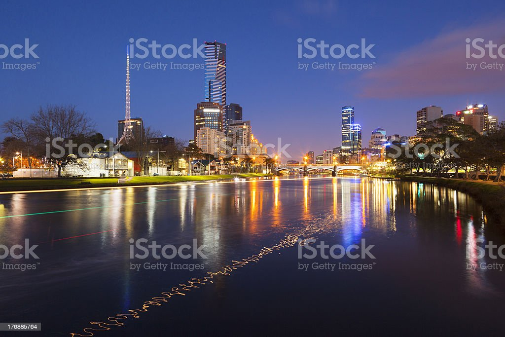 Melbourne Australia and the Yarra River at Twilight stock photo