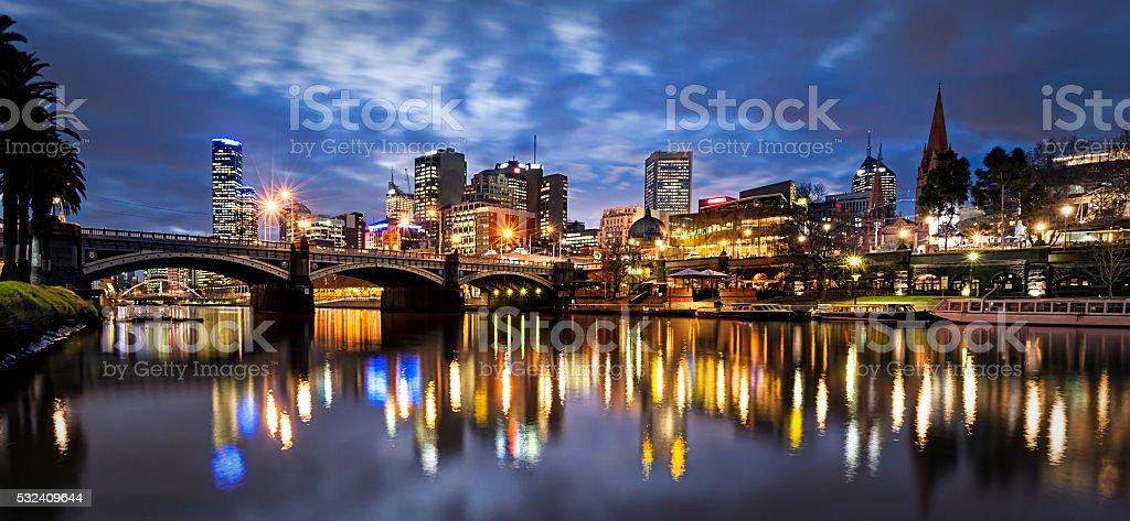 Melbourne Australia by Night stock photo