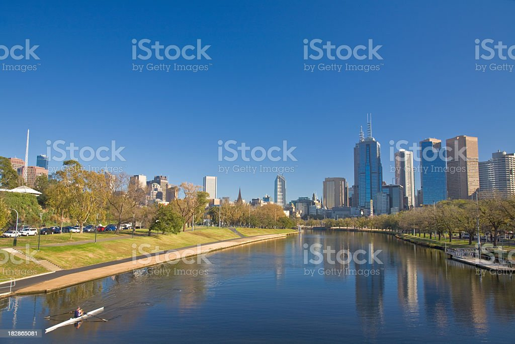 Melbourne Australia located by the city and water stock photo