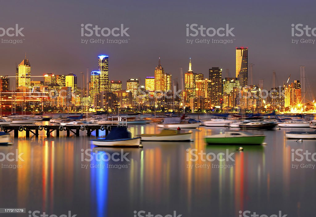 Melbourne, Australia, viewed from Williamstown. stock photo