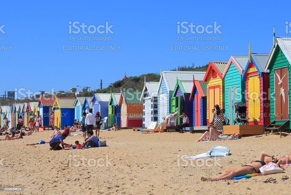 Melbourne beach bathing box Australia stock photo