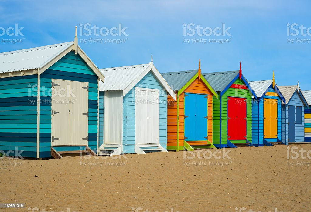 Melbourne beach houses stock photo