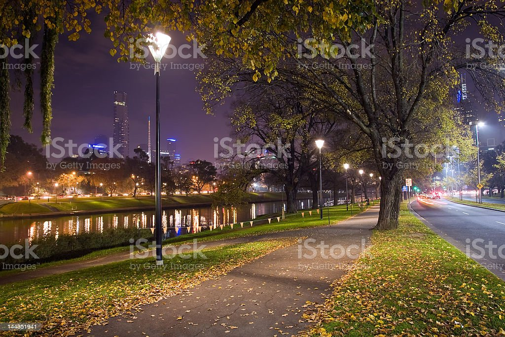 Melbourne by night II stock photo