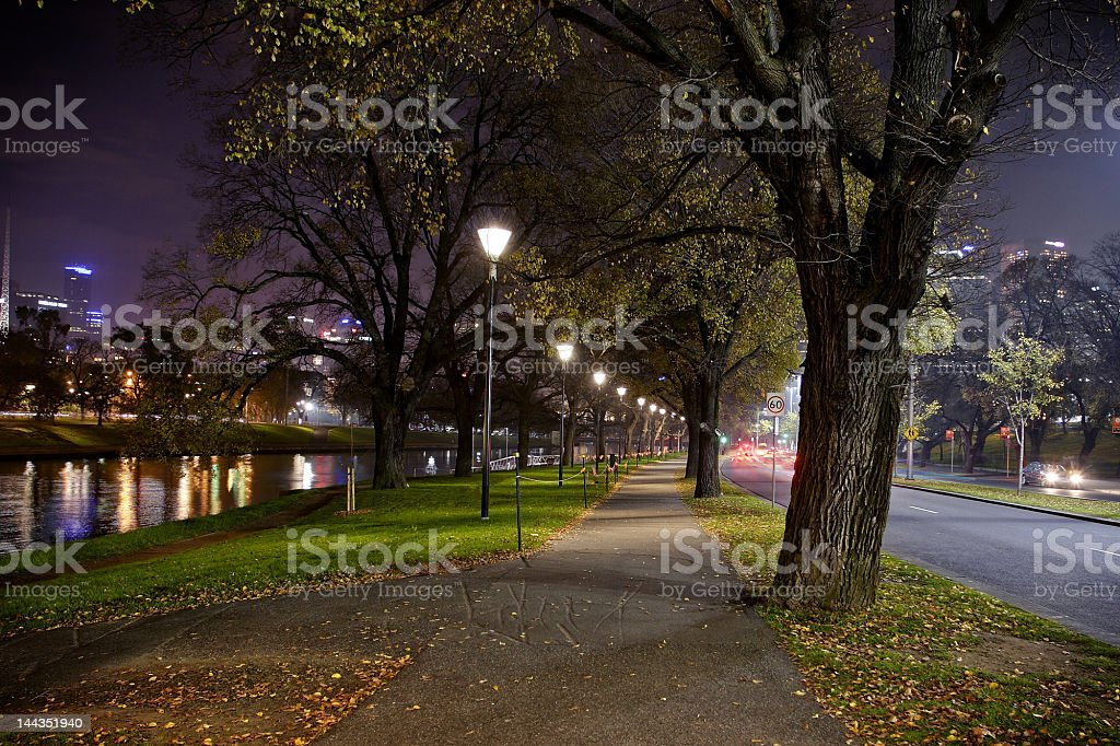 Melbourne by night stock photo