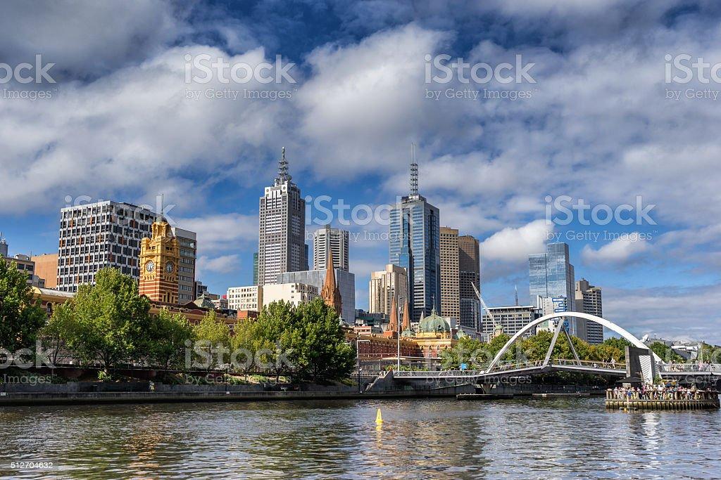 Melbourne CBD at Flinders stock photo