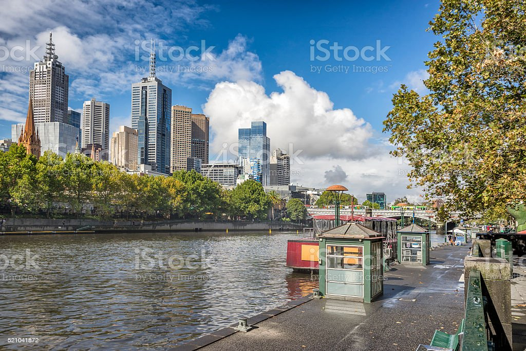 Melbourne CBD on the north bank stock photo