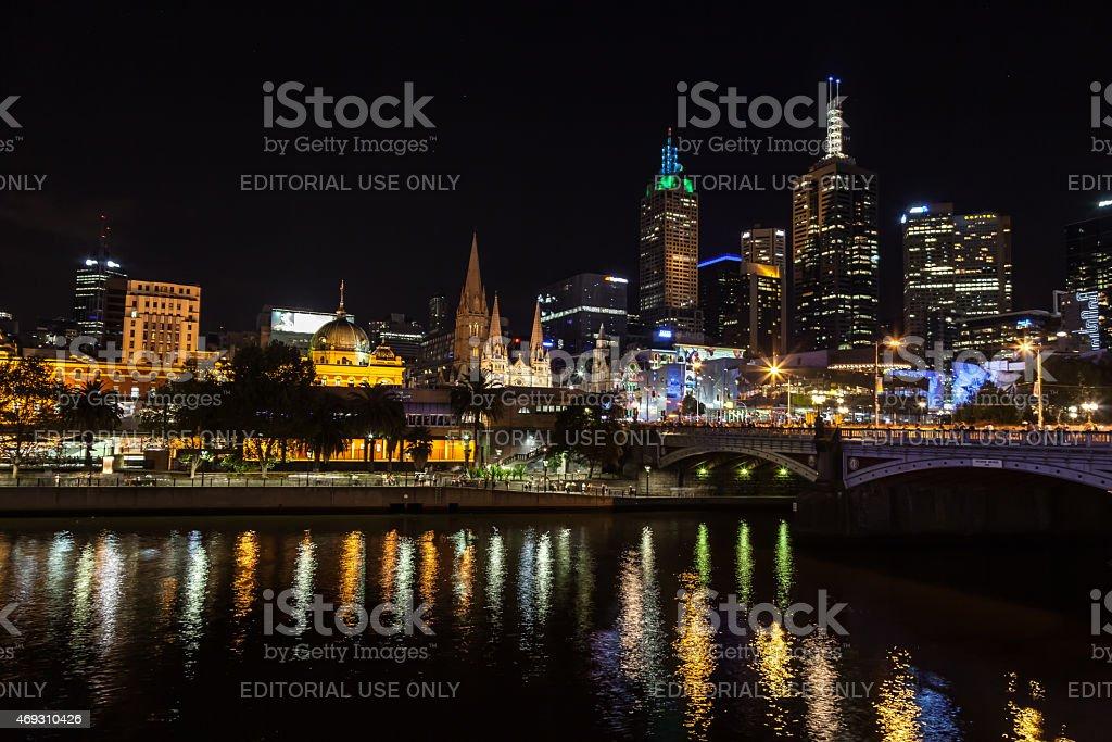 Melbourne CBD on White Night 2015 stock photo