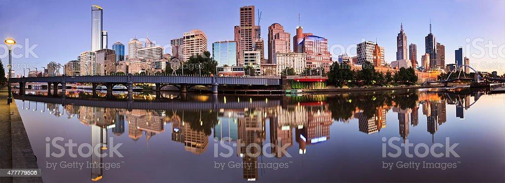 Melbourne CBD river still reflect stock photo