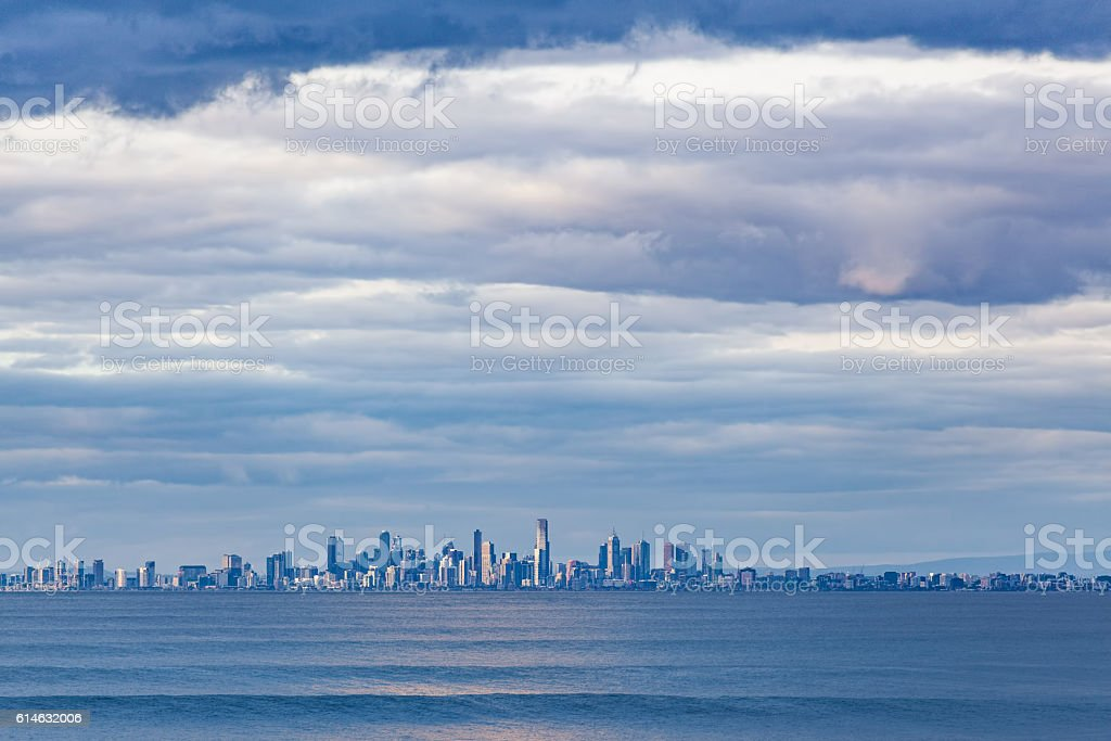 Melbourne CBD skyline at Dusk from Port Phillip waters. stock photo