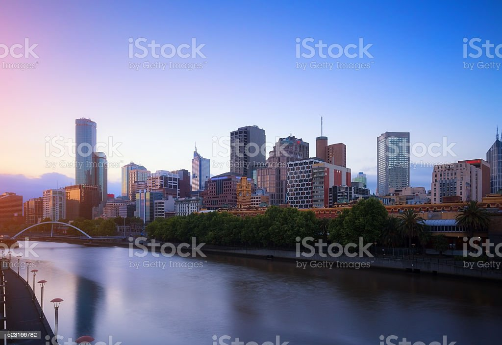 Melbourne city and the Yarra river at twilight. stock photo