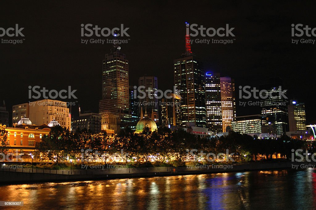 melbourne city at night royalty-free stock photo