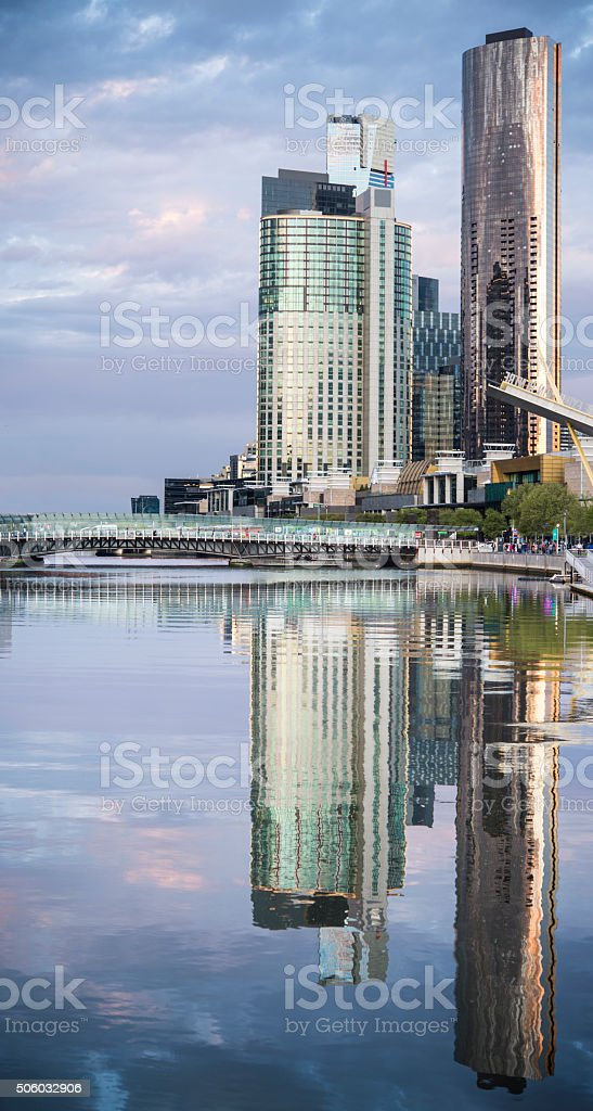 Melbourne City from Docklands stock photo