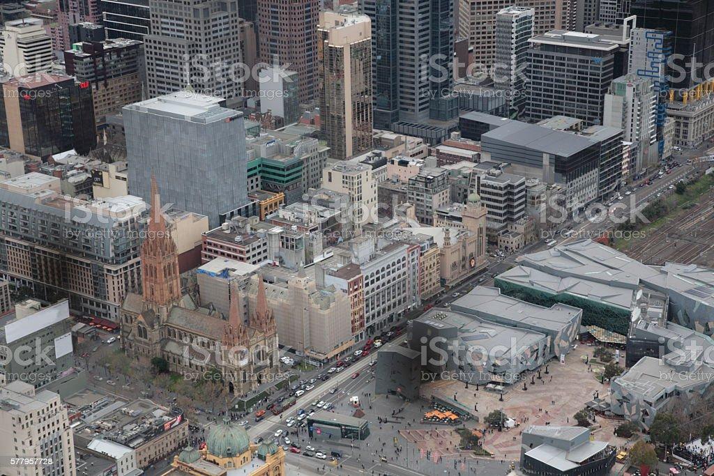 Melbourne city in Winter stock photo