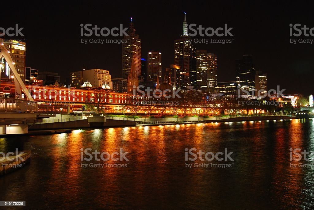 Melbourne city lights reflected on the Yarra River stock photo